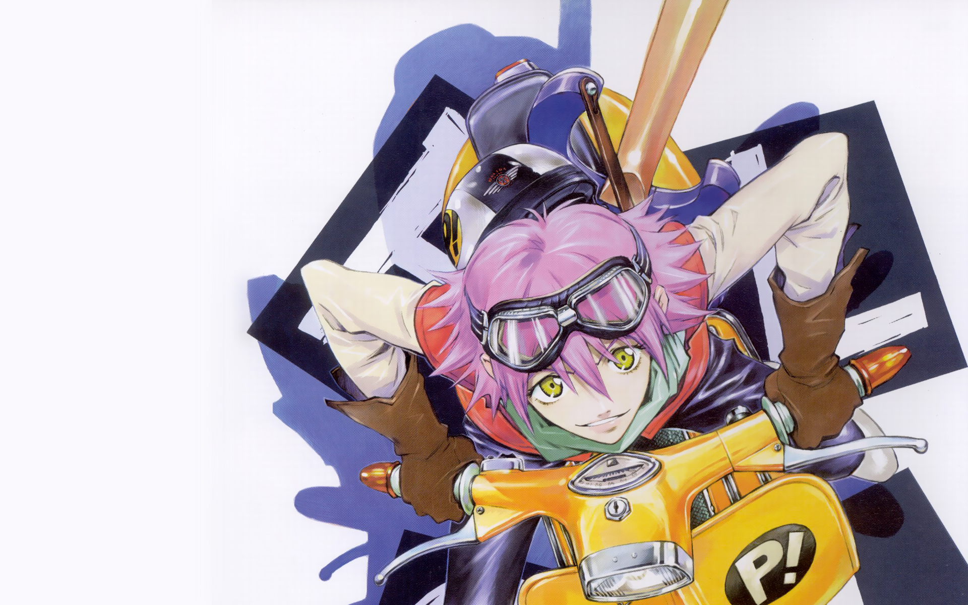 pants, gloves, FLCL Fooly Cooly, shadows, vespa, goggles, pink hair, short hair, yellow eyes, instruments, guitars, Haruhara Haruko, smiling, helmets, simple background, white background, bangs - desktop wallpaper