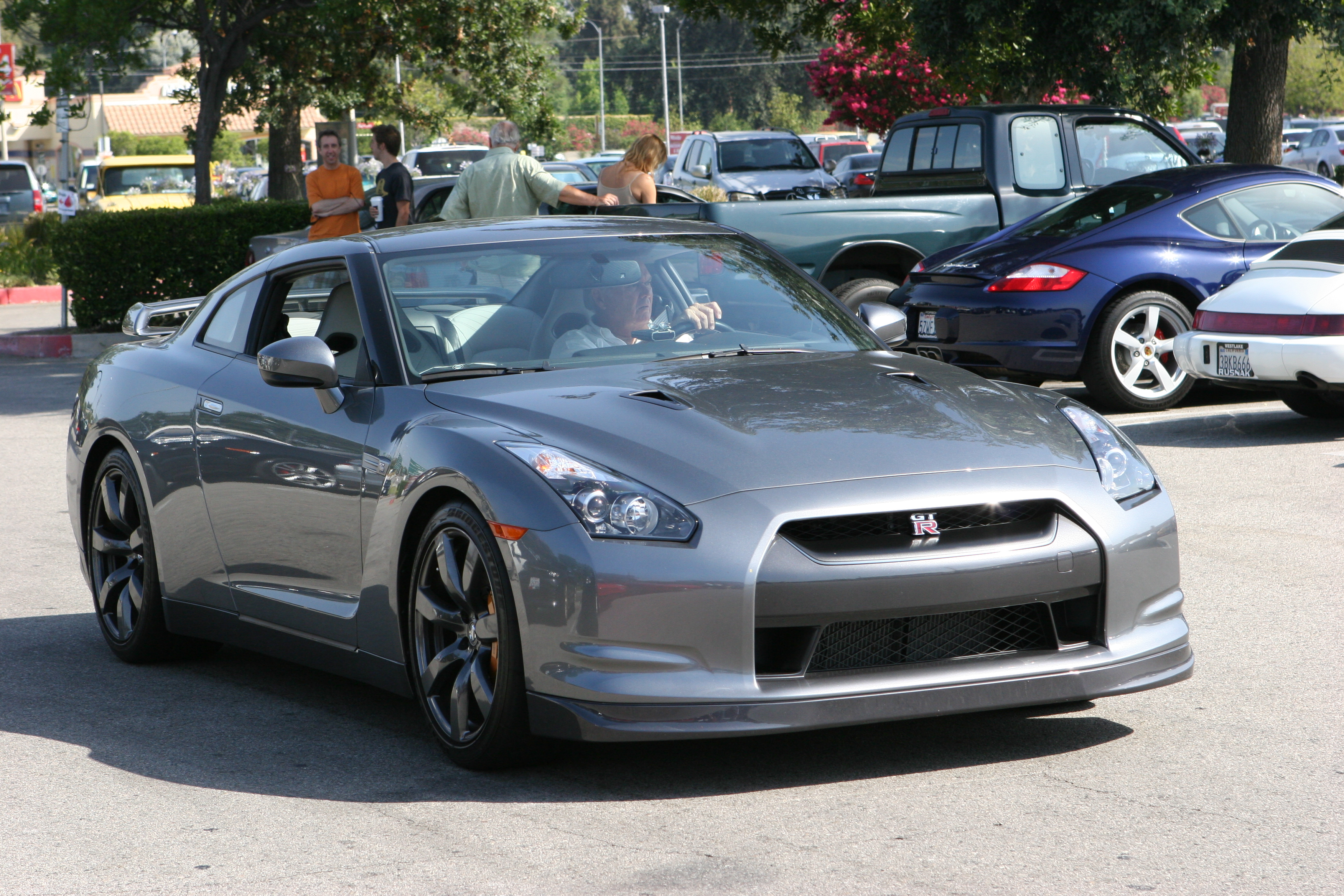cars, gray, Nissan, parking, Nissan GT-R R35 - desktop wallpaper