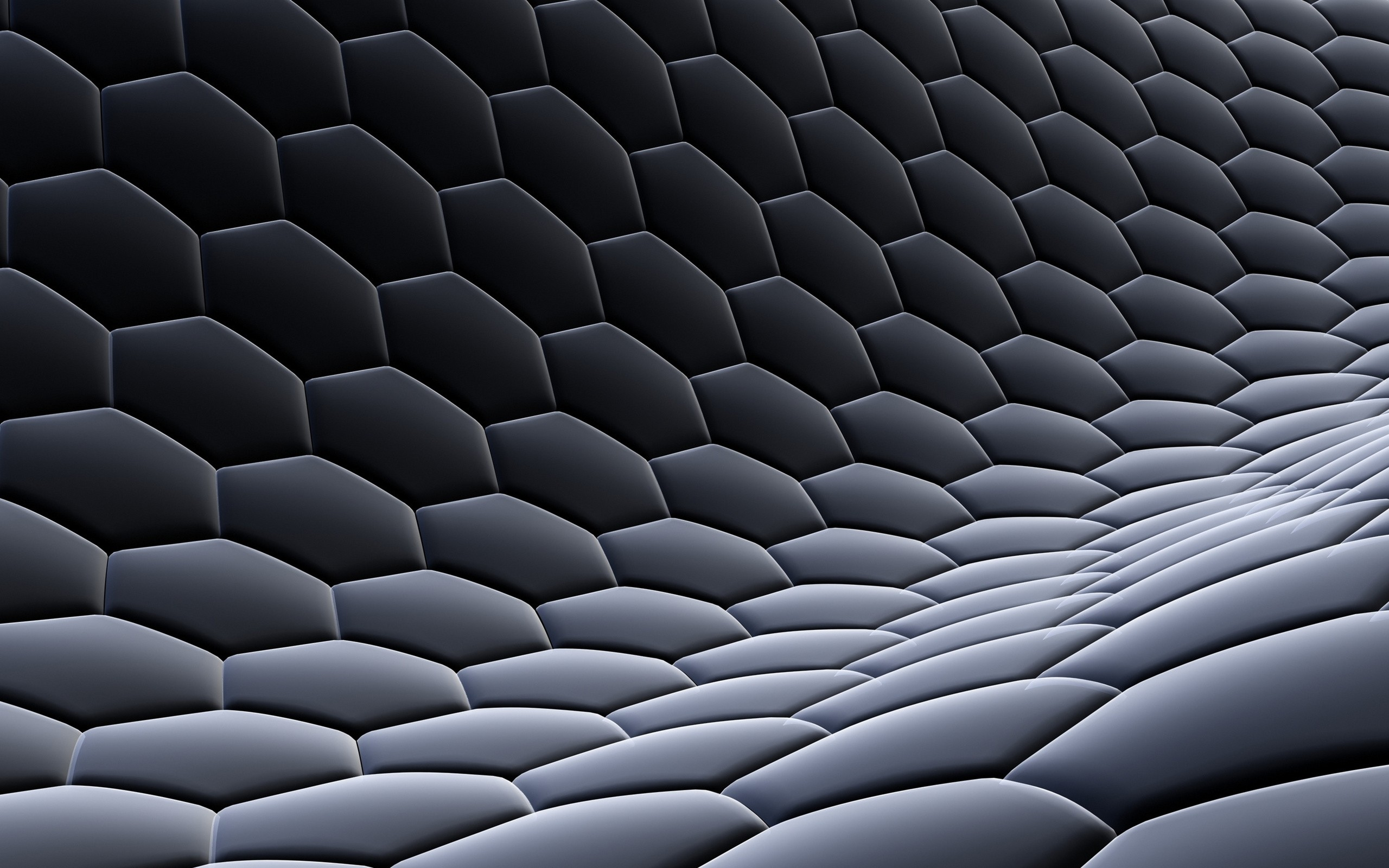 3D view, abstract, dark, design, hexagons, digital art, honeycomb - desktop wallpaper