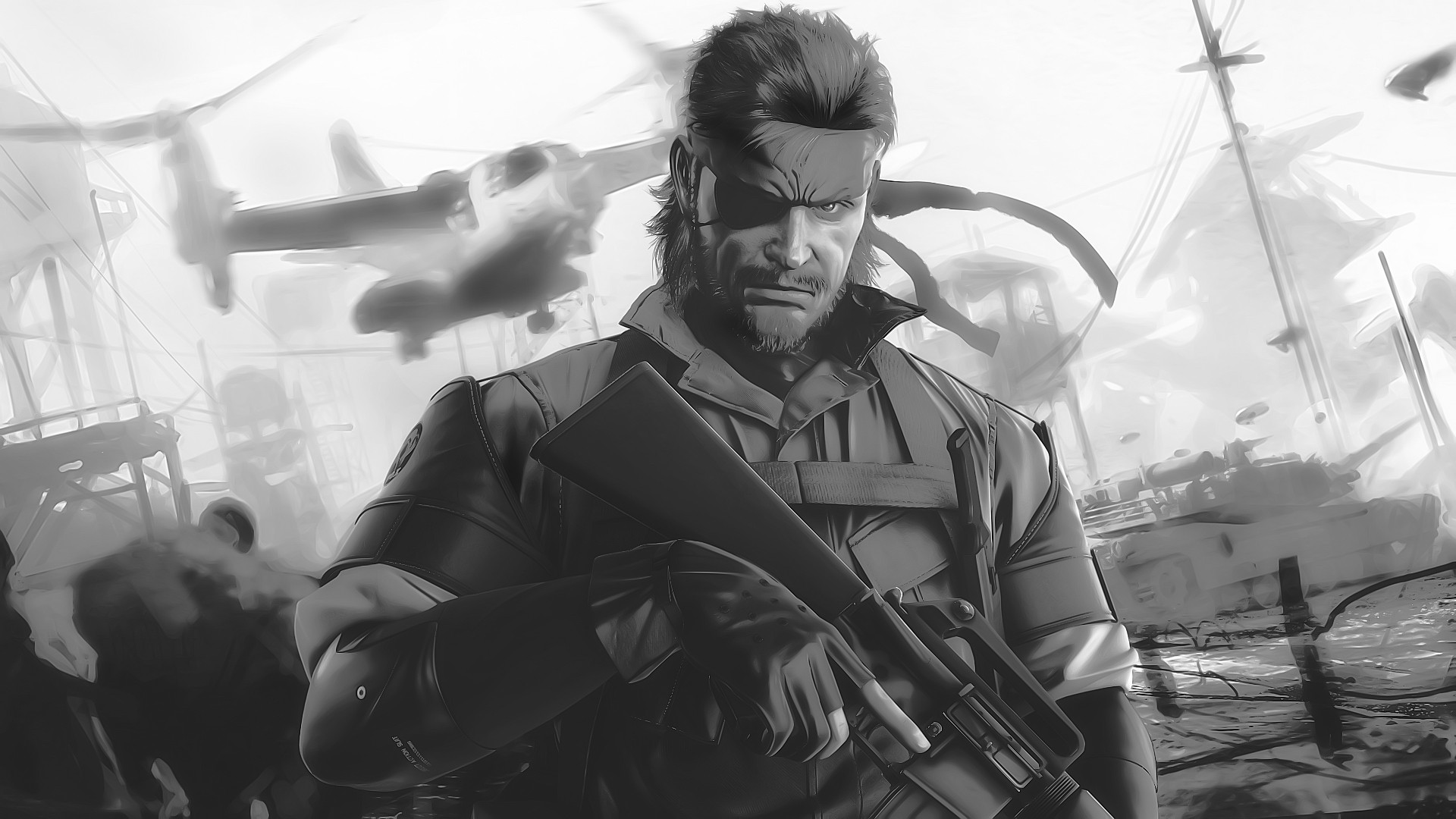 video games, Metal Gear Solid, monochrome, artwork, Peace Walker, Big Boss - desktop wallpaper