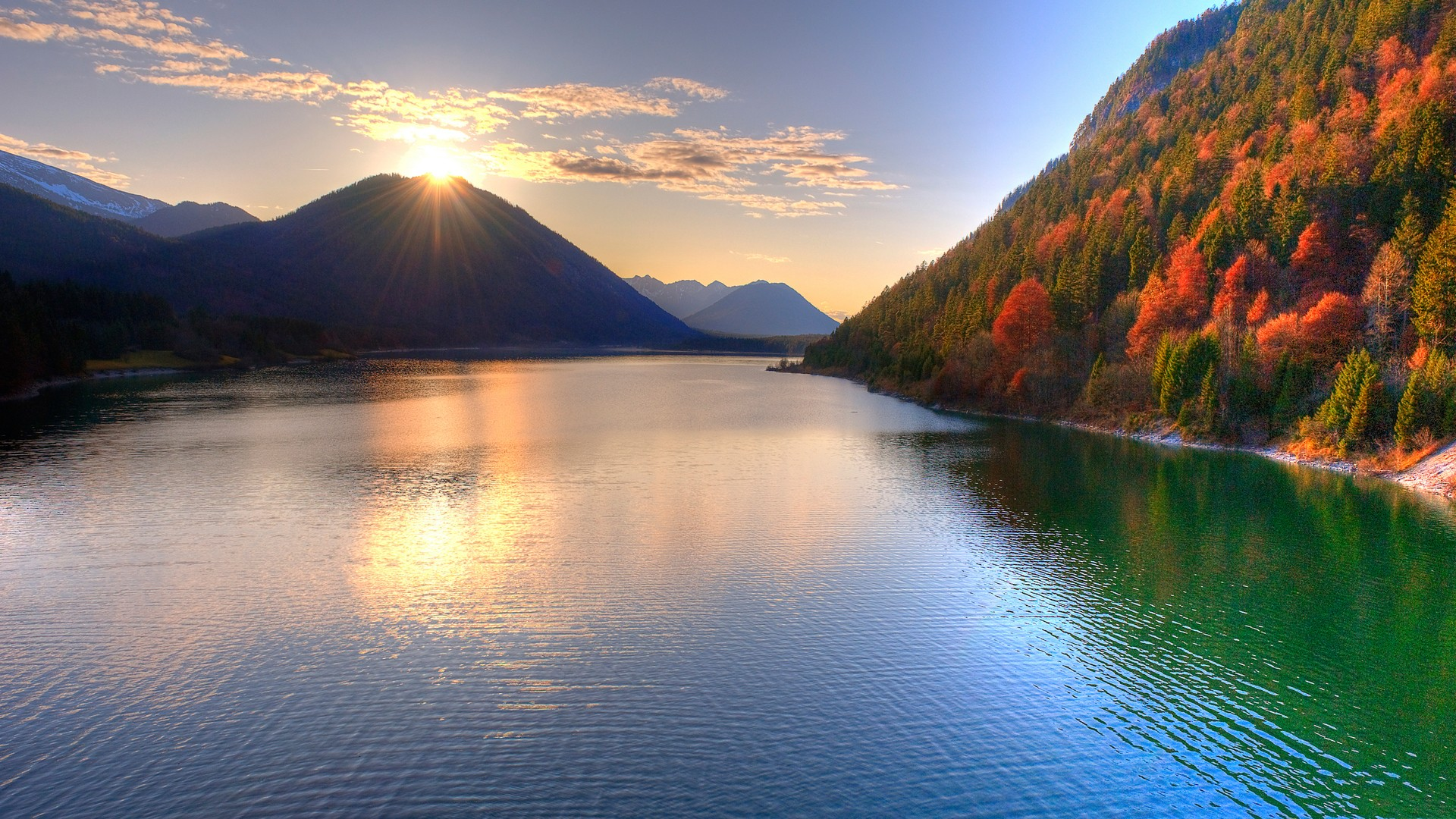 water, mountains, landscapes, sunlight - desktop wallpaper