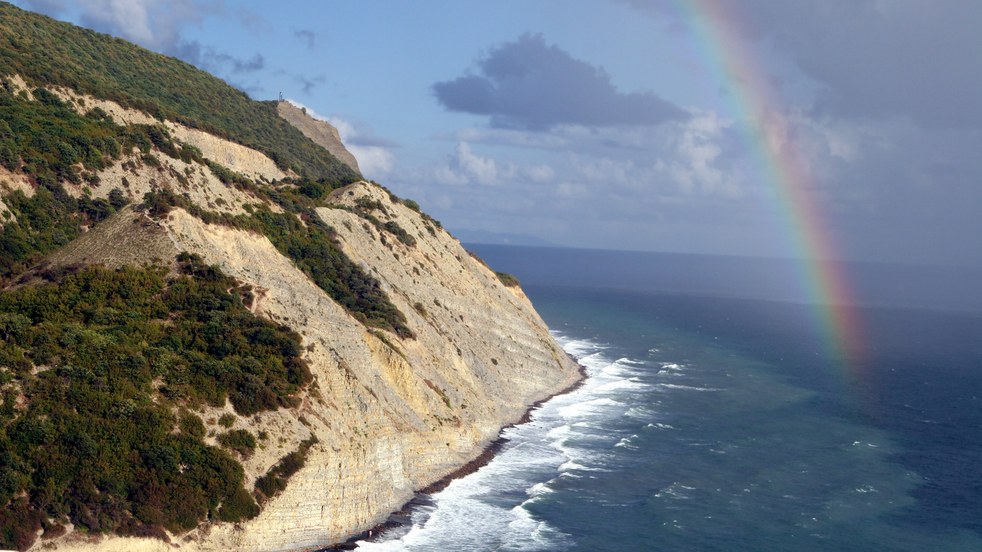 coast, trees, rainbows, Cliff - desktop wallpaper