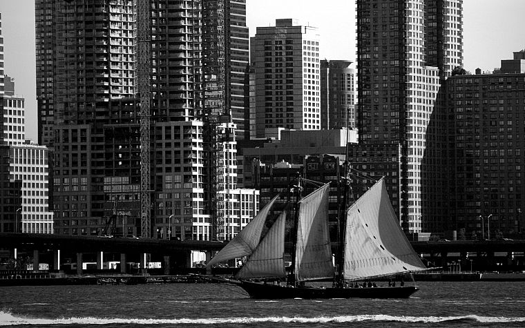 cityscapes, architecture, buildings, vehicles, sailboats, rivers - desktop wallpaper