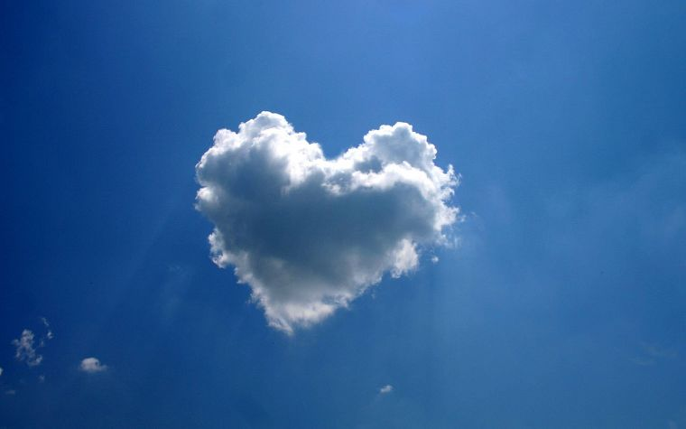 clouds, hearts, skyscapes - desktop wallpaper