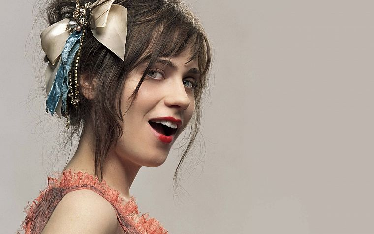 women, Zooey Deschanel, simple background - desktop wallpaper