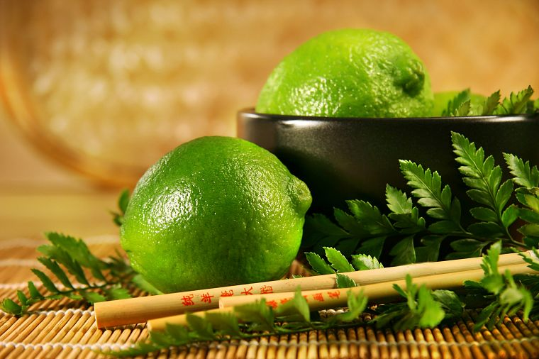 fruits, food, limes, bowls, chopsticks - desktop wallpaper