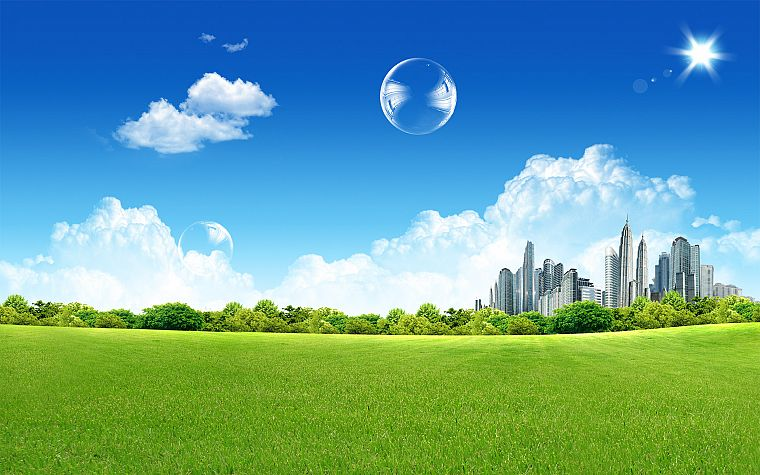 cityscapes, grass, buildings, skyscapes - desktop wallpaper