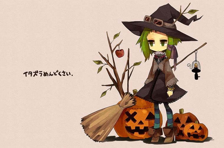 Vocaloid, Halloween, Megpoid Gumi, simple background, anime girls - desktop wallpaper