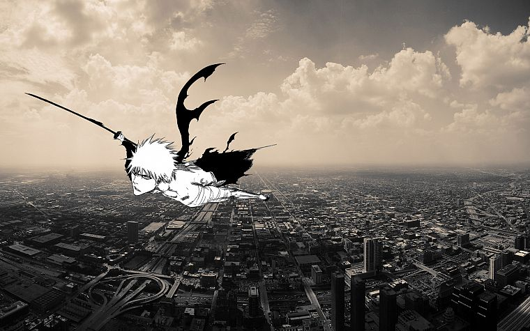 cityscapes, flying, Bleach, Kurosaki Ichigo, anime boys - desktop wallpaper