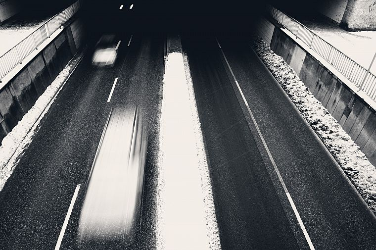 cityscapes, cars, traffic, monochrome, time, underpass - desktop wallpaper