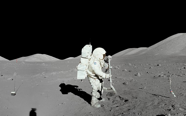 Moon, astronauts, Moon Landing - desktop wallpaper