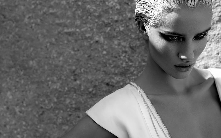 women, models, grayscale, monochrome, Rosie Huntington-Whiteley - desktop wallpaper