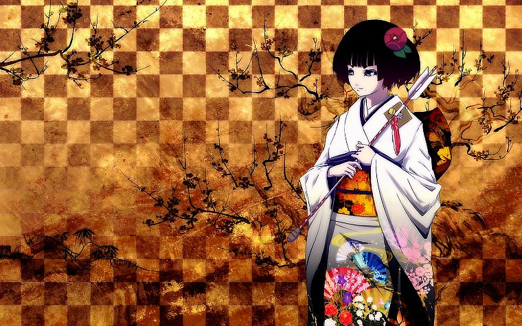 geisha, Japanese clothes, anime girls - desktop wallpaper