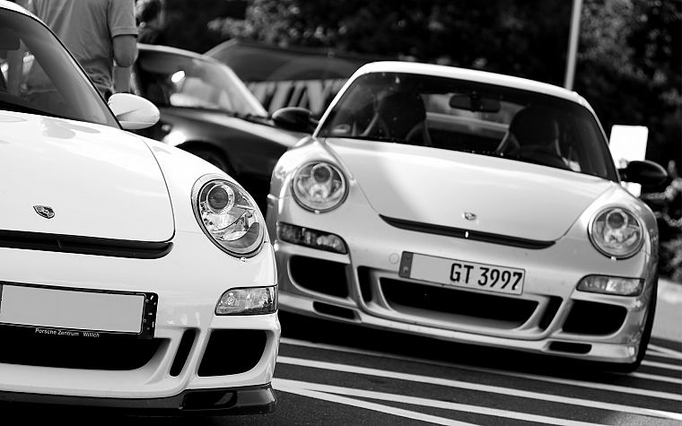 Porsche, cars, monochrome - desktop wallpaper