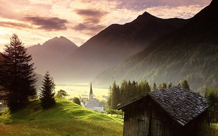 landscapes, forests, churches, villages - desktop wallpaper