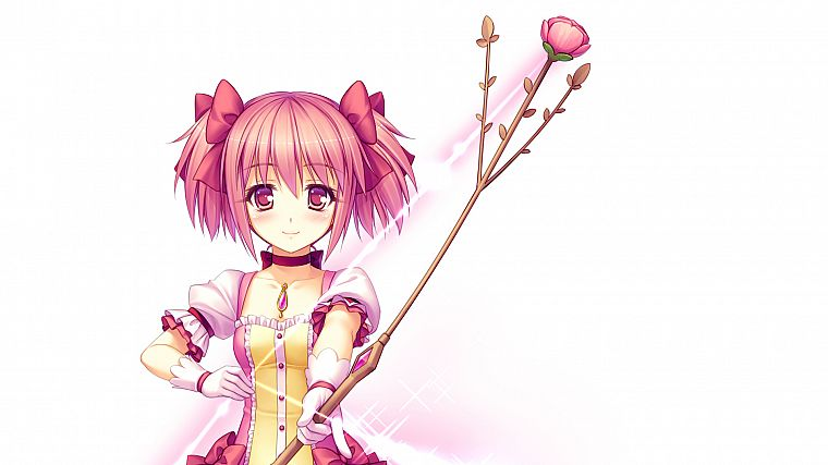 weapons, pink hair, short hair, twintails, Mahou Shoujo Madoka Magica, blush, Kaname Madoka, bows, anime, arrows, pink eyes, choker, roses, Sayori Neko Works, simple background, anime girls, white background - desktop wallpaper