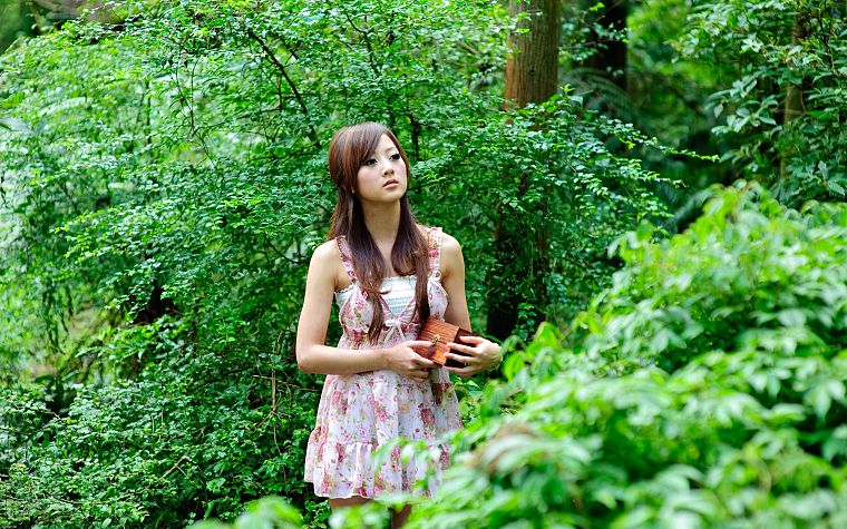 brunettes, women, nature, dress, Asians, Mikako Zhang Kaijie - desktop wallpaper