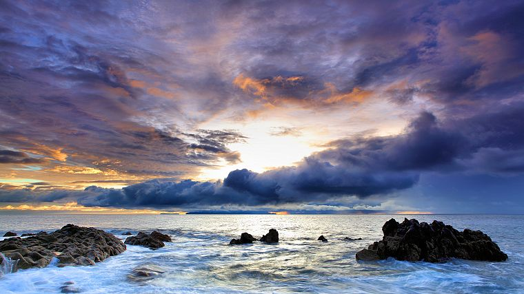 ocean, clouds, nature, rocks, skyscapes, sea - desktop wallpaper