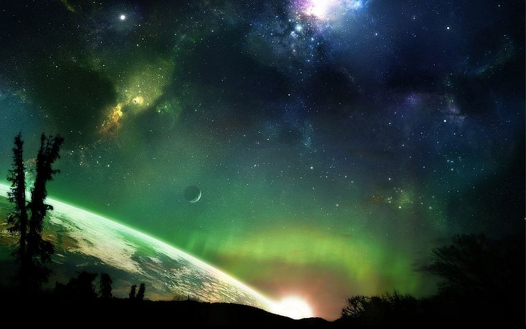 green, outer space, horizon, trees, stars, planets, Earth, atmosphere, science fiction, moons - desktop wallpaper