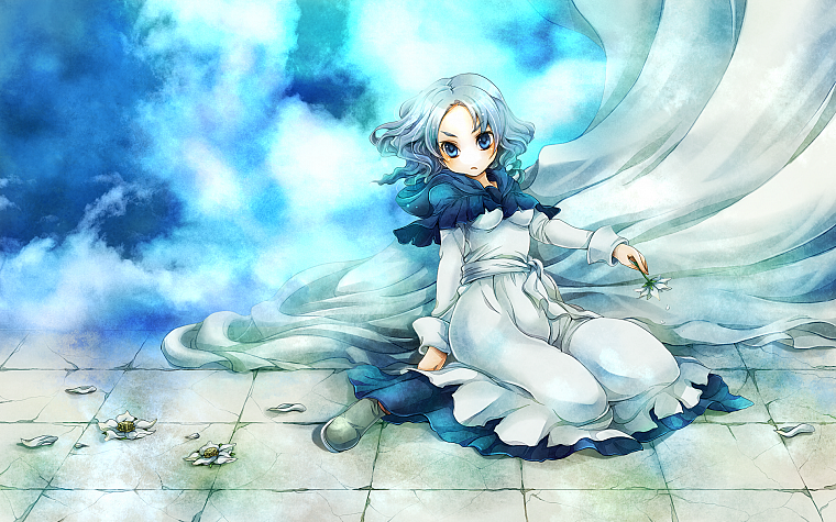 video games, clouds, Touhou, dress, flowers, blue eyes, short hair, sitting, flower petals, white dress, kneeling, gray hair, skyscapes, Kumoi Ichirin - desktop wallpaper