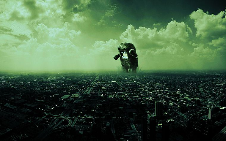 cityscapes, monsters, architecture, domo, buildings, giant, Domo-kun - desktop wallpaper