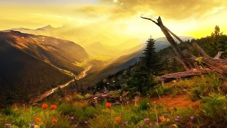 paintings, mountains, landscapes, trees, flowers, rivers - desktop wallpaper