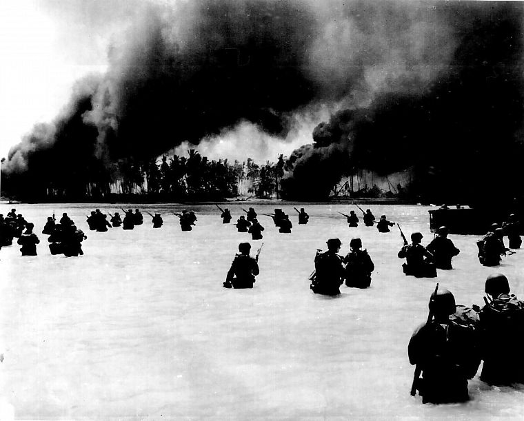 soldiers, military, smoke, US Marines Corps, infantry, War World, World War II, beaches - desktop wallpaper