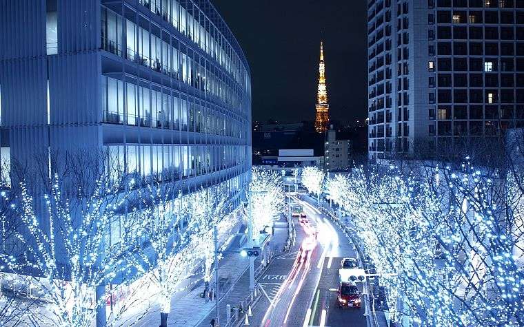 Japan, trees, cityscapes, night, lights, architecture, Asia, Tokyo Tower - desktop wallpaper