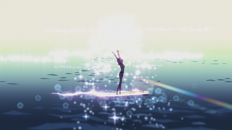 silhouettes, surfing, Makoto Shinkai, 5 Centimeters Per Second, artwork, anime - desktop wallpaper