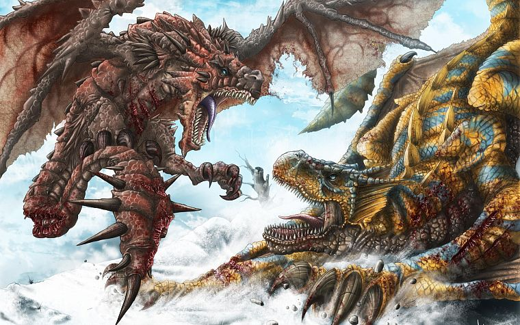 wings, dragons, blood, Monster Hunter, fantasy art, battles, artwork, Tigrex, Rathalos - desktop wallpaper