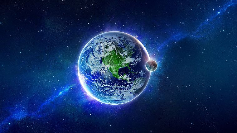 outer space, planets, Earth, digital art, artwork - desktop wallpaper