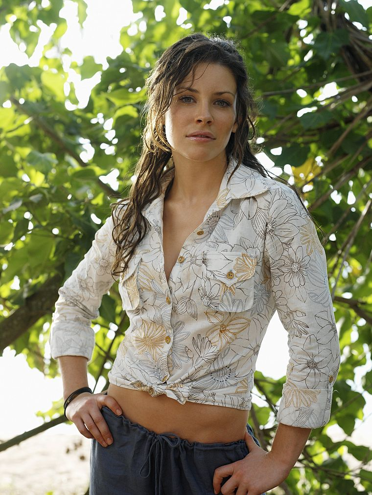 brunettes, actress, Evangeline Lilly, Lost (TV Series), stomach, hands on waist - desktop wallpaper