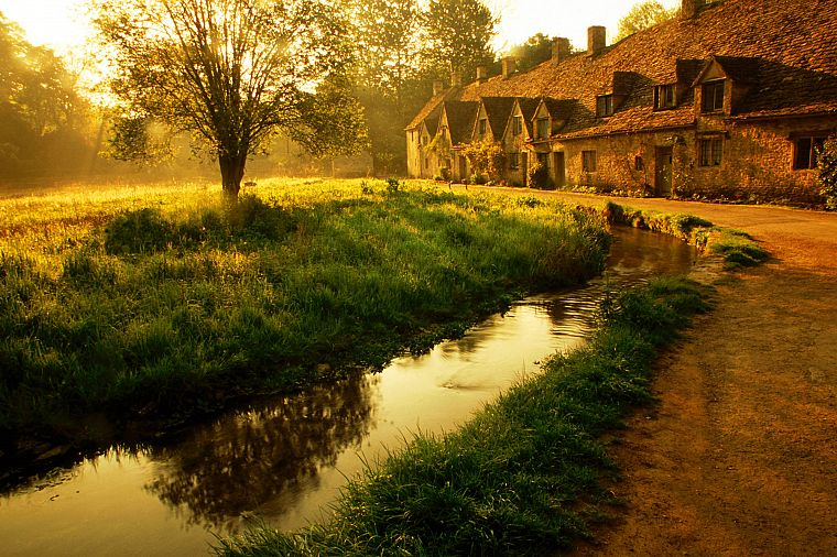 landscapes, garden, houses, ponds - desktop wallpaper