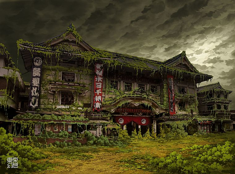 Tokyo, ruins, post-apocalyptic, buildings, artwork, overcast, Asian architecture, Ivy, theatre, abandoned, banners, TokyoGenso - desktop wallpaper