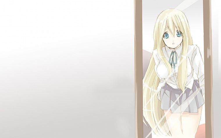 blondes, K-ON!, mirrors, blue eyes, skirts, Kotobuki Tsumugi, open mouth, anime - desktop wallpaper