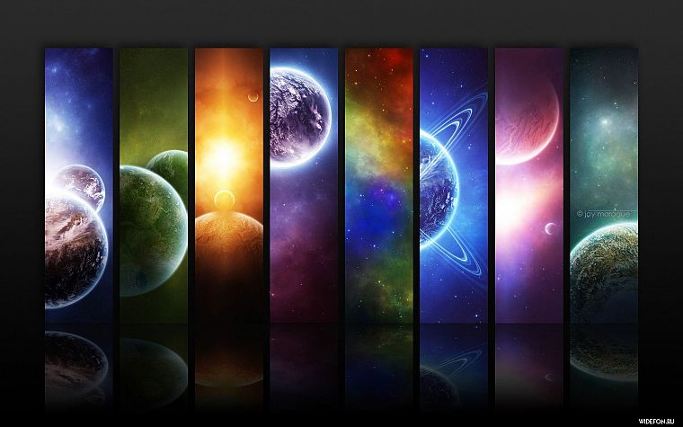 outer space, multicolor, stars, planets, artwork - desktop wallpaper