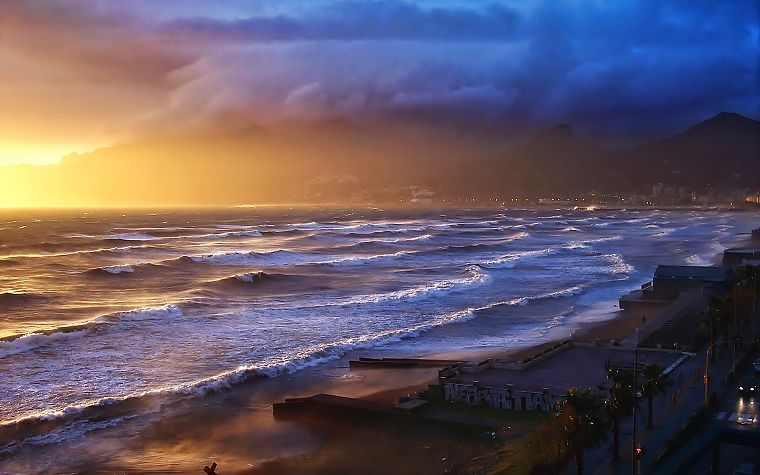 water, sunset, landscapes, nature, waves, storm, sunlight, oceans, waterscapes - desktop wallpaper
