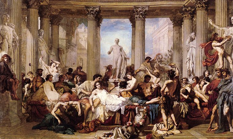 paintings, Classic, Thomas Couture, Romans in the Decadence of the Empire - desktop wallpaper