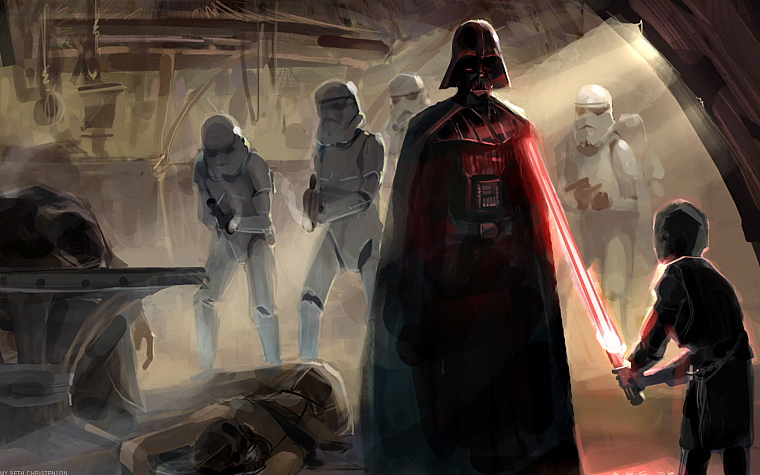 Star Wars, lightsabers, Darth Vader, Sith, dark side, concept art, artwork - desktop wallpaper