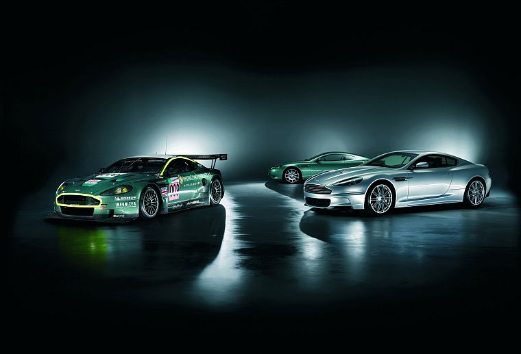green, cars, Aston Martin, vehicles, Aston Martin DB9, Aston Martin DBS, side view, Aston Martin DBR9, front angle view - desktop wallpaper