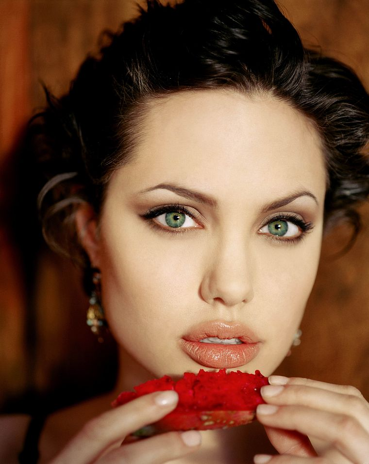 women, Angelina Jolie, green eyes, faces - desktop wallpaper