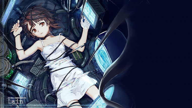 brunettes, computers, dress, Serial Experiments Lain, science fiction, crying, anime girls, cables, holographic - desktop wallpaper