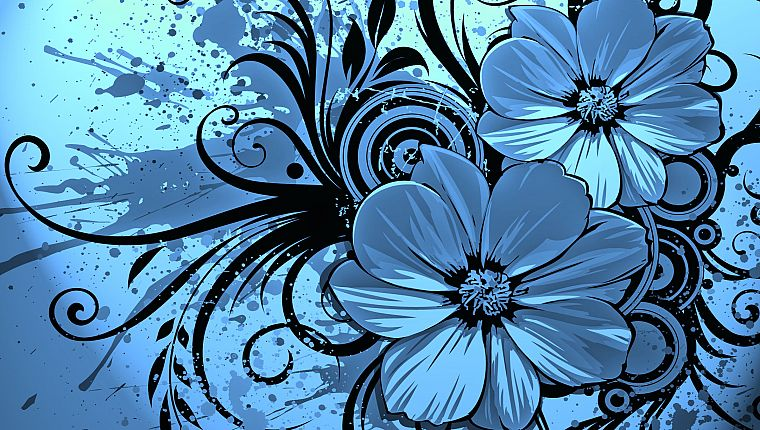 abstract, flowers, artwork - desktop wallpaper