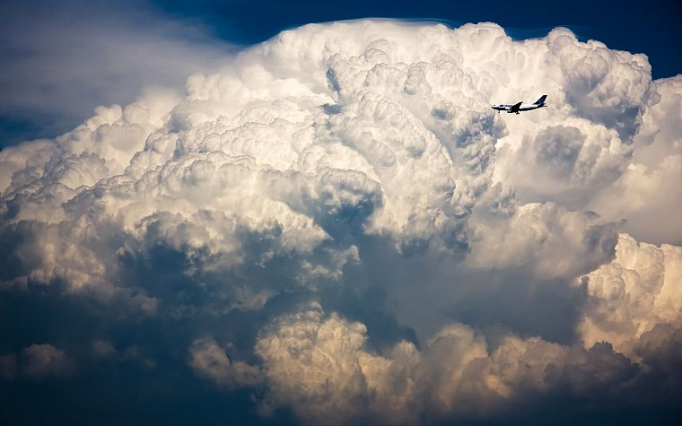 clouds, aircraft, cumulonimbus, Airbus A320 - desktop wallpaper