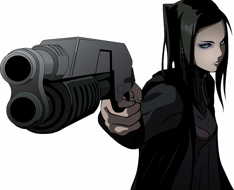 guns, Ergo Proxy, weapons, Re-l Mayer, simple background, black hair - desktop wallpaper