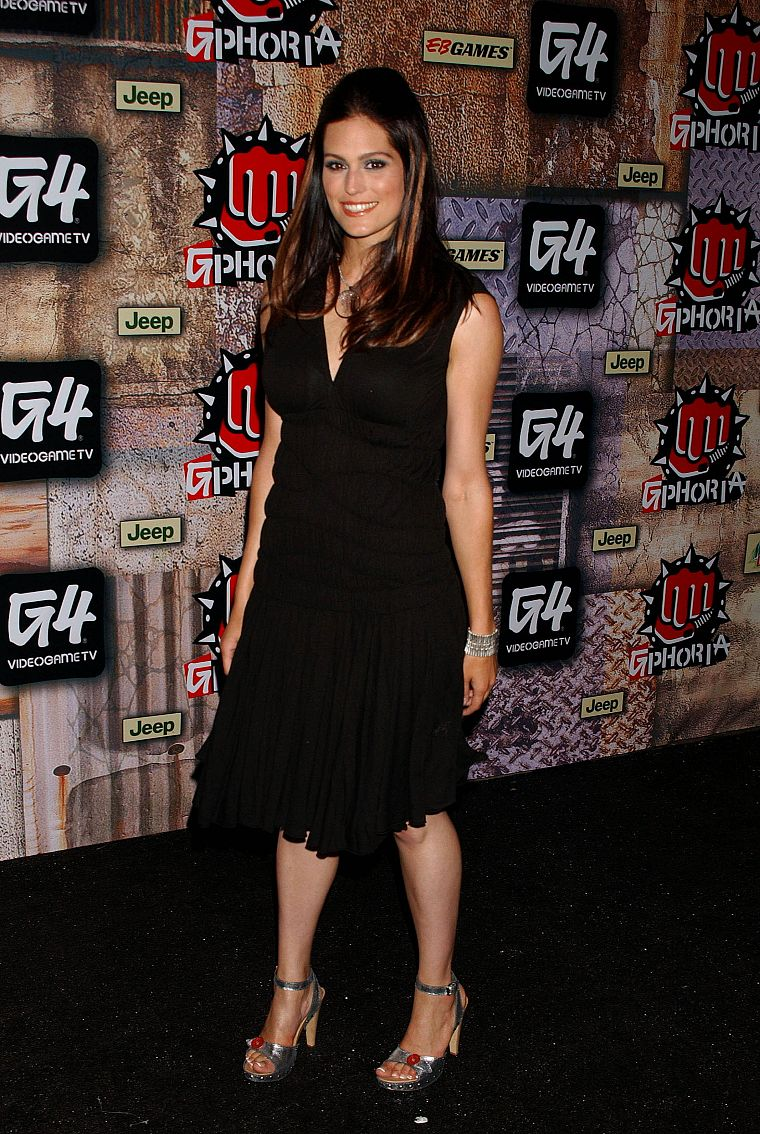 Morgan Webb, high heels, black dress - desktop wallpaper