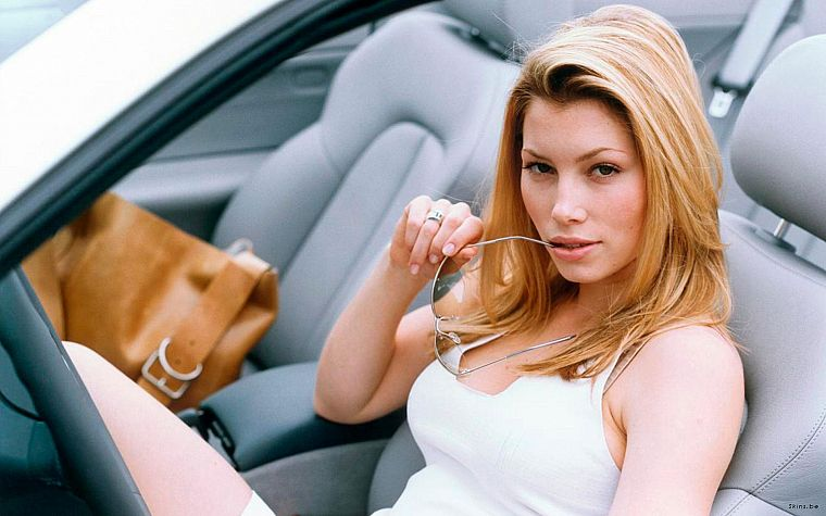 blondes, women, cars, actress, glasses, Jessica Biel, car interiors, girls with cars - desktop wallpaper