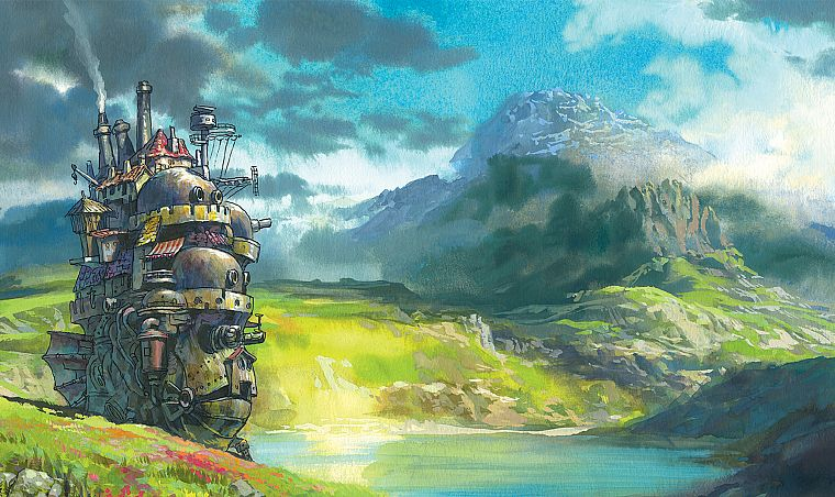mountains, landscapes, fantasy art, anime, rivers, Howl's Moving Castle, hauru - desktop wallpaper