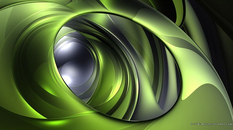 green, abstract, 3D - desktop wallpaper