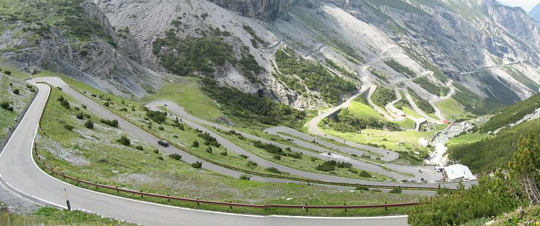 mountains, nature, valleys, Italy, roads, Stelvio Pass - desktop wallpaper